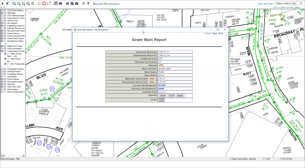 Pop-up window with a GIS detail report written in ColdFusion.