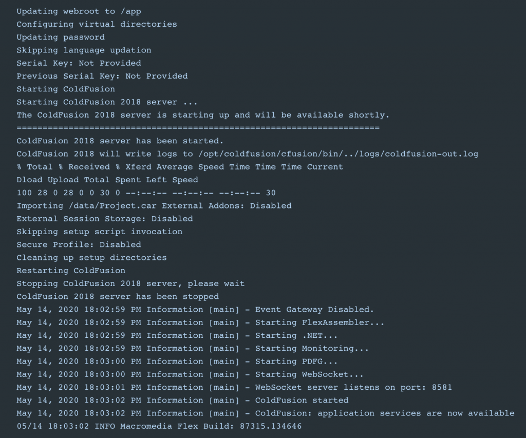 The Docker Logs for my ColdFusion Image